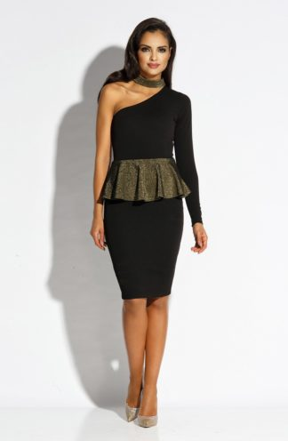 Sukienka ze złotą baskinką czarna