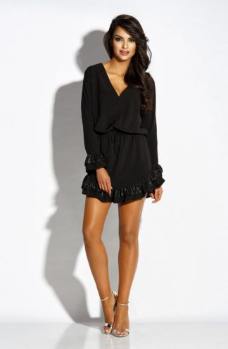 Sukienka z falbankami i dekoltem czarna