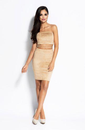 Sukienka bez ramion beżowa