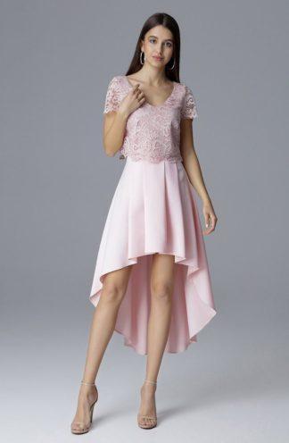 Komplet z rozkloszowaną spódnicą różowy