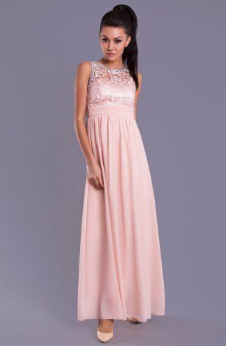 Sukienka z biżuteryjną górą różowa