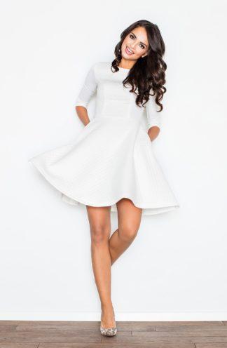 Sukienka rozkloszowana pikowana ecru
