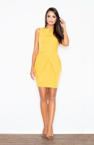 Sukienka mini z zakładkami żółta