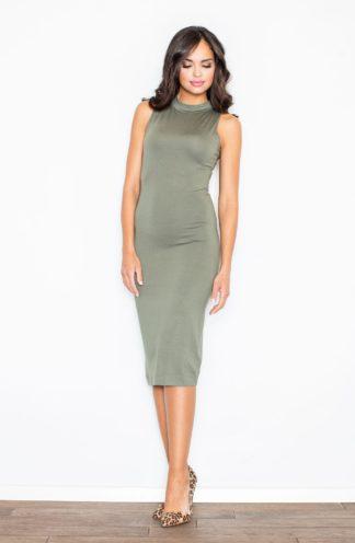 Sukienka ołówkowa z półgolfem oliwkowa