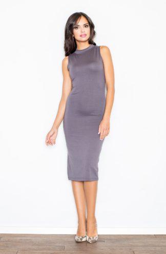 Sukienka ołówkowa z półgolfem szara