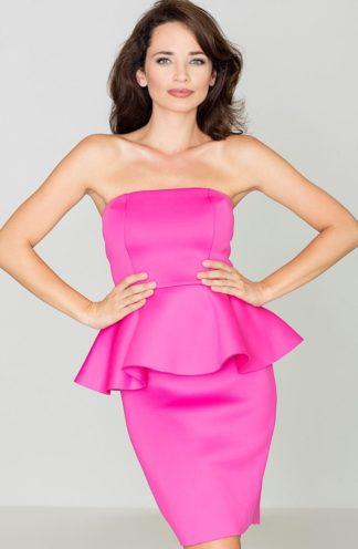 Sukienka z baskinką różowa