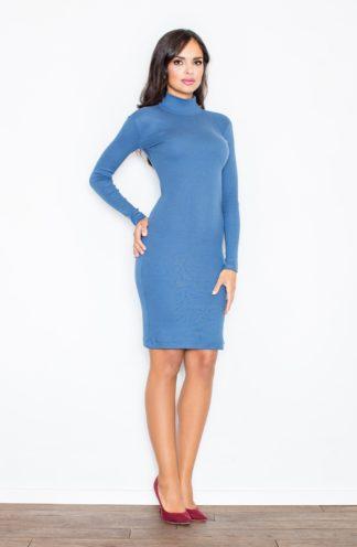 Sukienka dopasowana z golfem niebieska