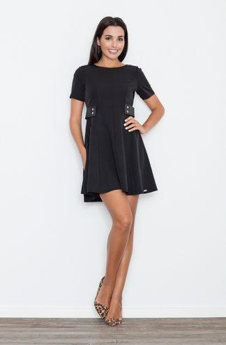 Sukienka z skórzanymi wstawkami czarna