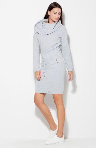 Sportowa sukienka z golfem szara