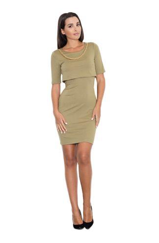 Sukienka ze złotym łańcuszkiem oliwkowa