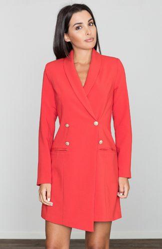 Sukienka z dwurzędowymi guzikami czerwona
