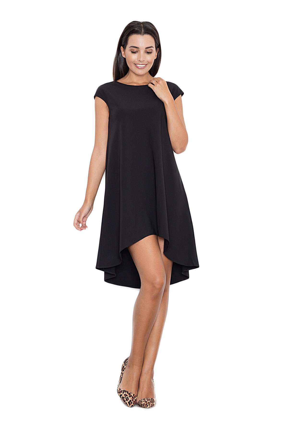 a4800563ed Sukienka trapezowa elegancka z dłuższym tyłem bez rękawów czarna ...