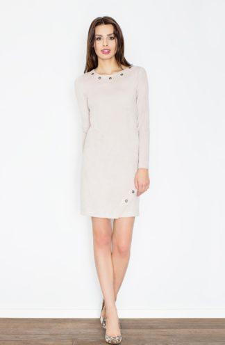 Zamszowa sukienka ołówkowa beżowa