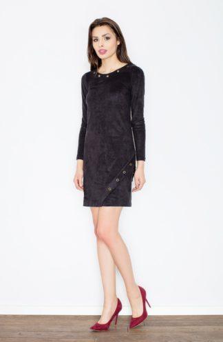 Zamszowa sukienka ołówkowa czarna