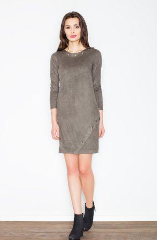 Zamszowa sukienka ołówkowa oliwkowa