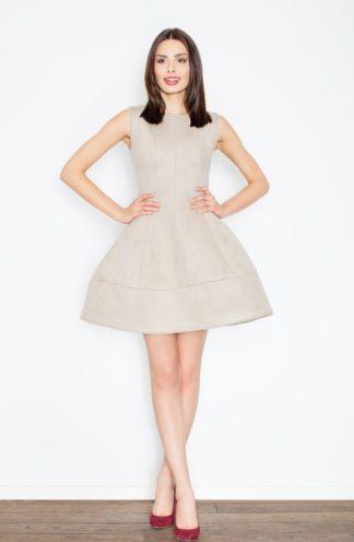 Zamszowa sukienka rozkloszowana beżowa