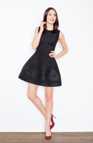 Zamszowa sukienka rozkloszowana czarna