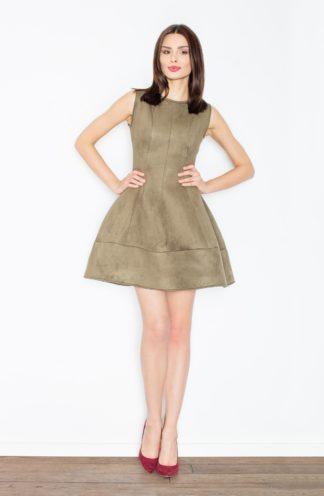 Zamszowa sukienka rozkloszowana oliwkowa