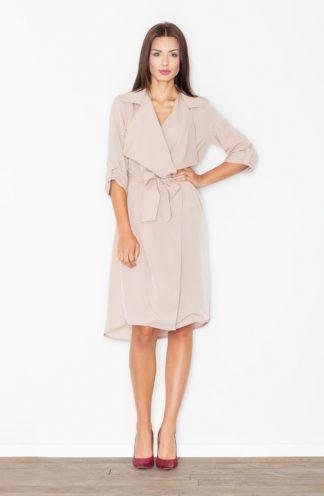 Luźna sukienka wiązana beżowa