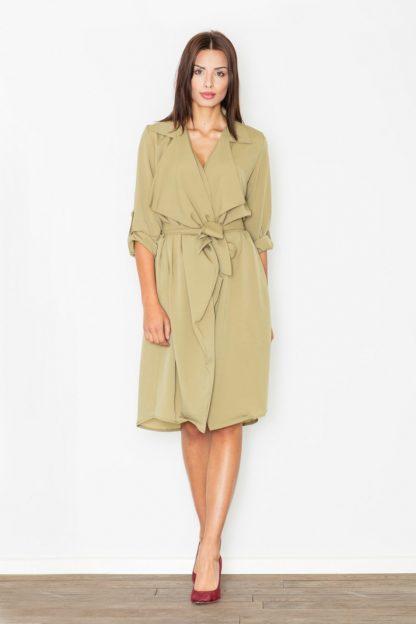 Luźna sukienka wiązana oliwkowa