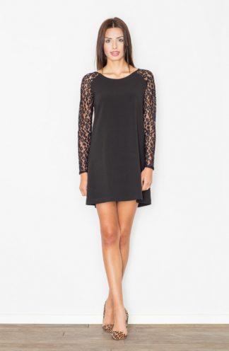 Sukienka z koronkowymi rękawami czarna