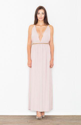 Sukienka z głębokim dekoltem różowa