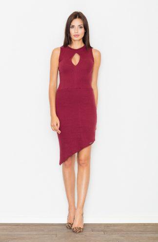 Sukienka asymetryczna bordowa