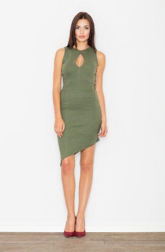 Sukienka asymetryczna oliwkowa