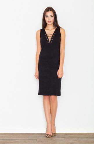 Sukienka z sznurowanym dekoltem czarna