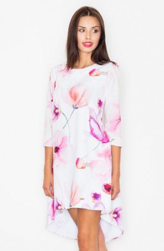 Sukienka trapezowa w różowe kwiaty