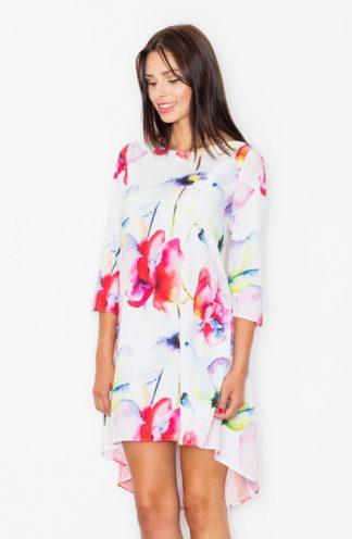 Sukienka trapezowa w kolorowe kwiaty