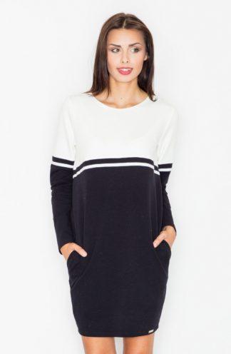 Dresowa sukienka z rękawem czarna