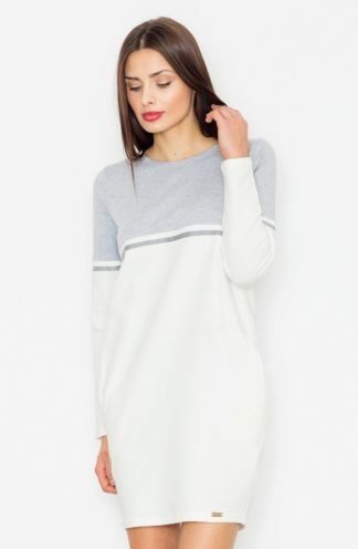 Dresowa sukienka z rękawem jasnoszara