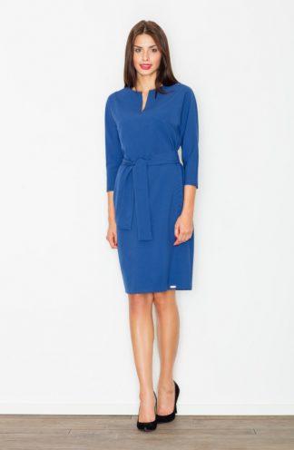 Sukienka z dekoltem i paskiem niebieska