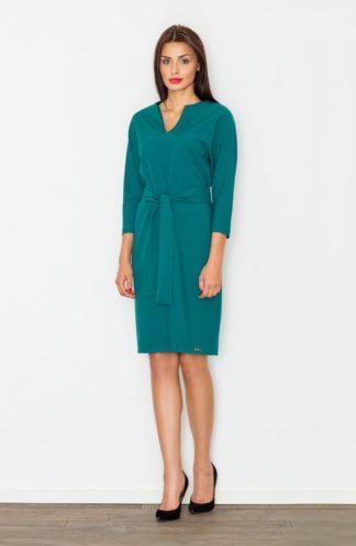Sukienka z dekoltem i paskiem zielona