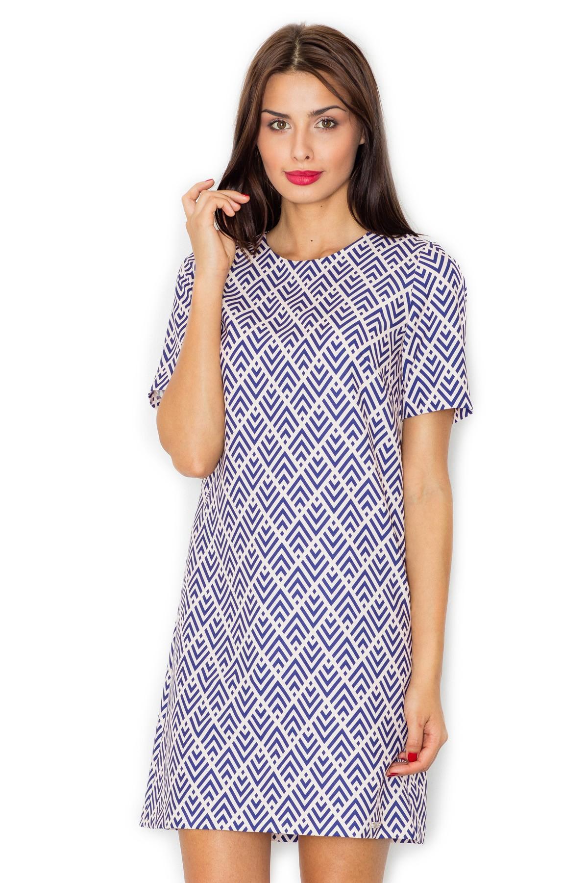 63bf20993d Trapezowa sukienka z rękawem w geometryczny wzór · 13Sukienek.pl