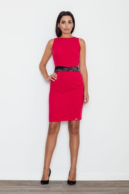 Sukienka z ozdobnym paskiem czerwona