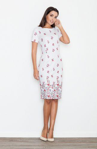 Sukienka ołówkowa jasne kwiaty