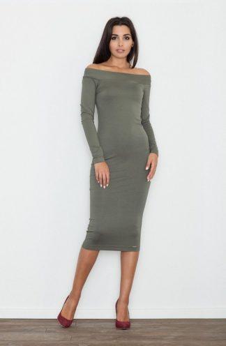 Sukienka ołówkowa midi oliwkowa