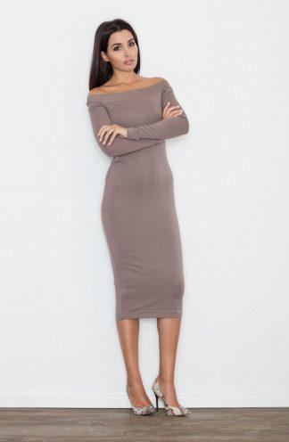 Sukienka ołówkowa midi brązowa