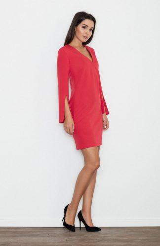 Sukienka z rękawem z wycięciem czerwona