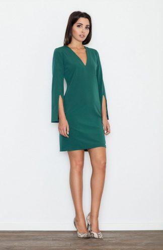 Sukienka z rękawem z wycięciem zielona