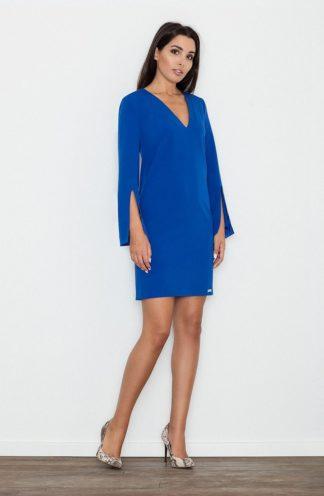 Sukienka z rękawem z wycięciem niebieska