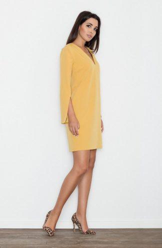 Sukienka z rękawami z wycięciem żółta