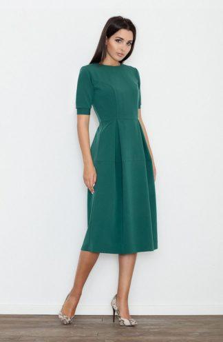 Sukienka midi rozkloszowana zielona
