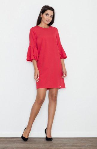 Sukienka z rękawami z falban czerwona