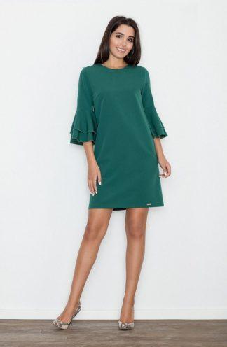 Sukienka z rękawami z falban zielona