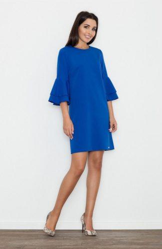 Sukienka z rękawami z falban niebieska