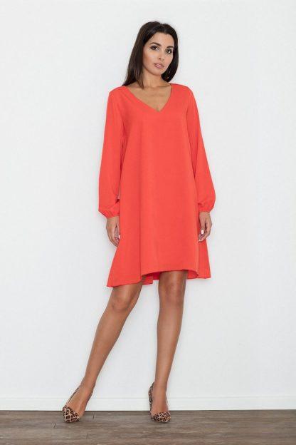Sukienka trapezowa elegancka koralowa