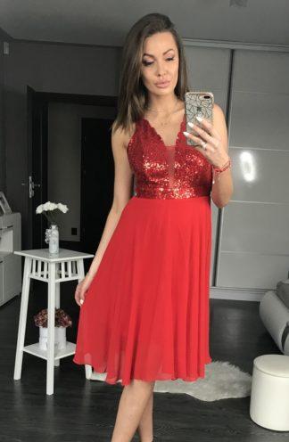 Sukienka midi z cekinową górą czerwona